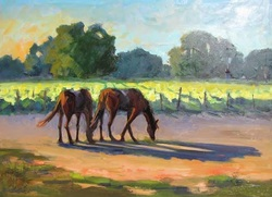Barbara Lawrence Oil Painting Landscape Horses
